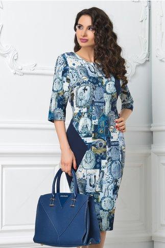 Rochie Rena midi bleumarin cu imprimeu divers