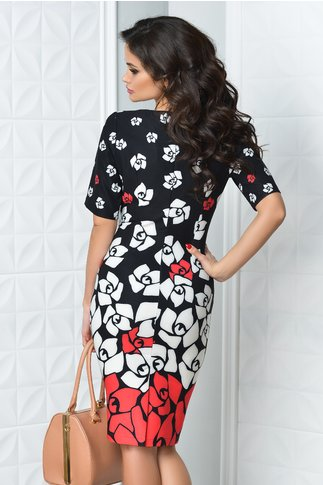 Rochie Rena neagra cu imprimeu floral rosu