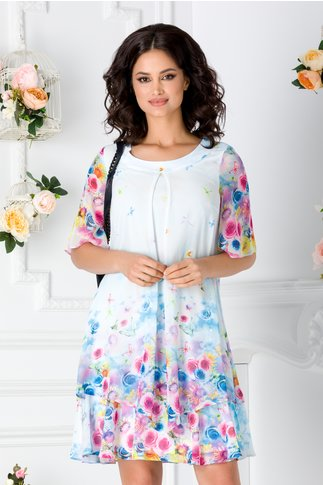Rochie Reya bleu cu imprimeu floral colorat