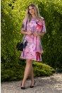 Rochie Reya corai cu imprimeu floral maxi