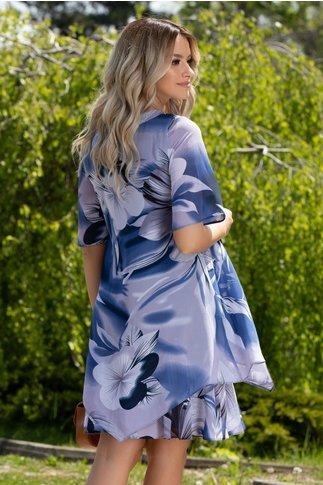 Rochie Reya indigo cu imprimeu floral maxi