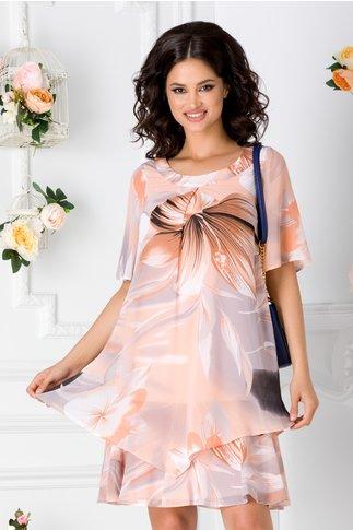 Rochie Reya orange cu imprimeu floral maxi