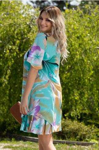 Rochie Reya turcoaz cu imprimeu floral maxi