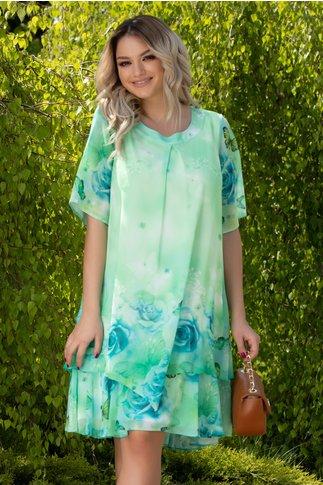 Rochie Reya vernil cu fluturi si trandafiri bleu