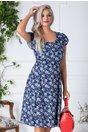 Rochie Reyna de vara albastru cu floricele bej