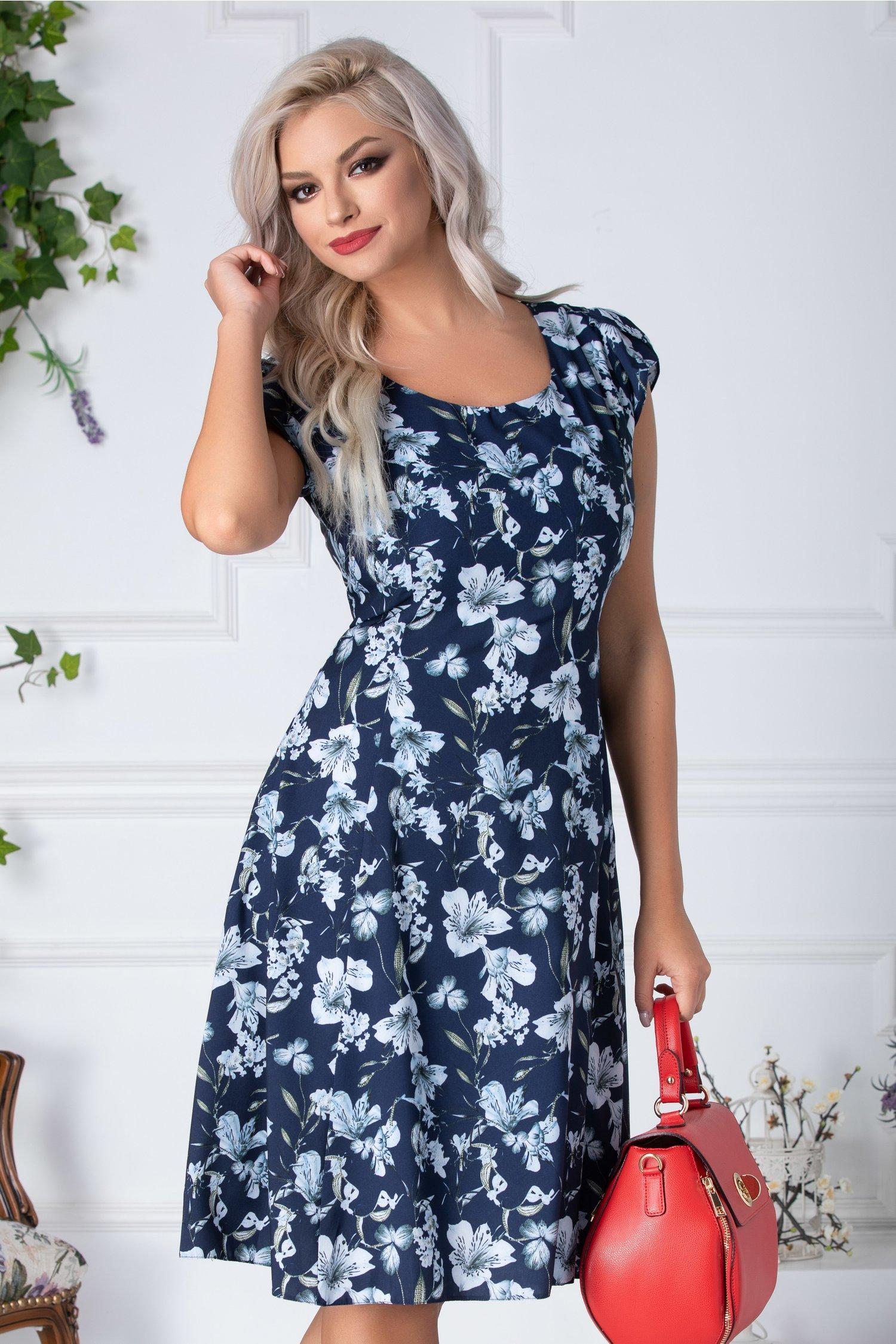 Rochie Reyna de vara bleumarin cu imprimeu floral bleu