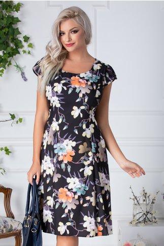 Rochie Reyna neagra de vara cu imprimeu floral pastelat