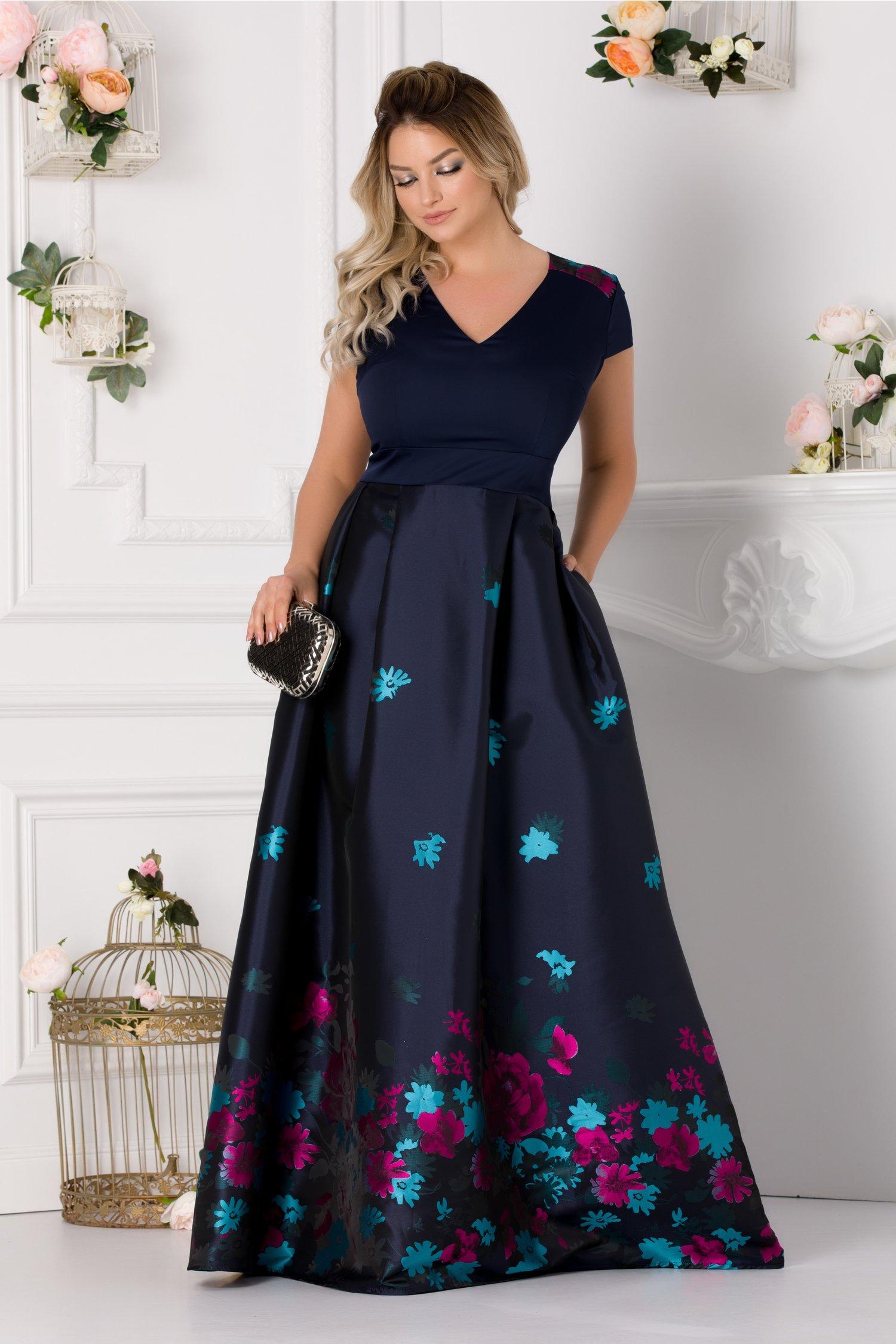 Rochie Rhona lunga bleumarin cu imprimeu floral colorat