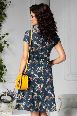 Rochie Riana bleumarin cu imprimeu floral