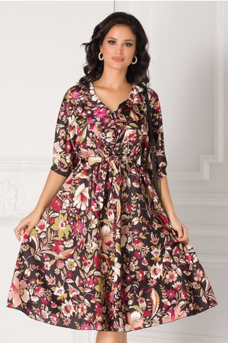 Rochie Ricki neagra cu imprimeuri florale