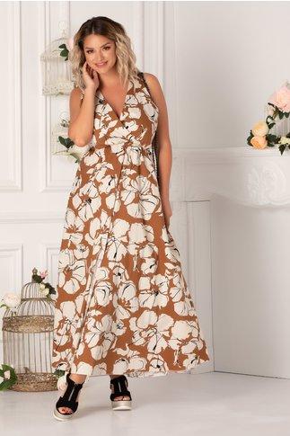 Rochie Ricky caramizie cu flori maxi ivoire