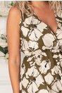 Rochie Ricky kaki cu flori maxi albe
