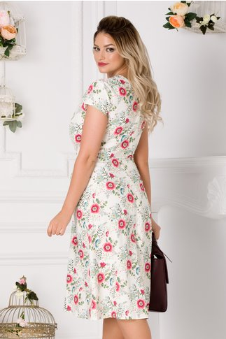 Rochie Riky ivoire cu imprimeu floral roz