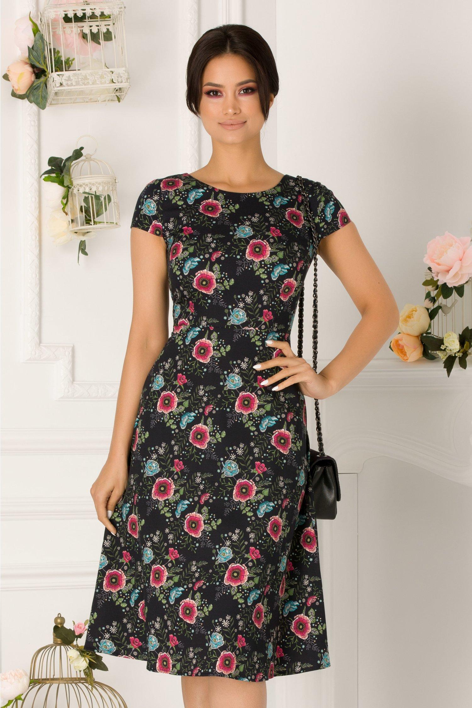 Rochie Riky Neagra Cu Imprimeu Floral Roz