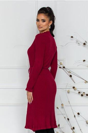 Rochie Rina bordo din tricot reiat cu snur reglabil in talie
