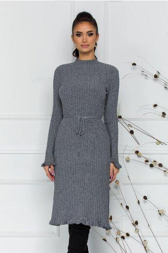 Rochie Rina gri din tricot reiat cu snur reglabil in talie