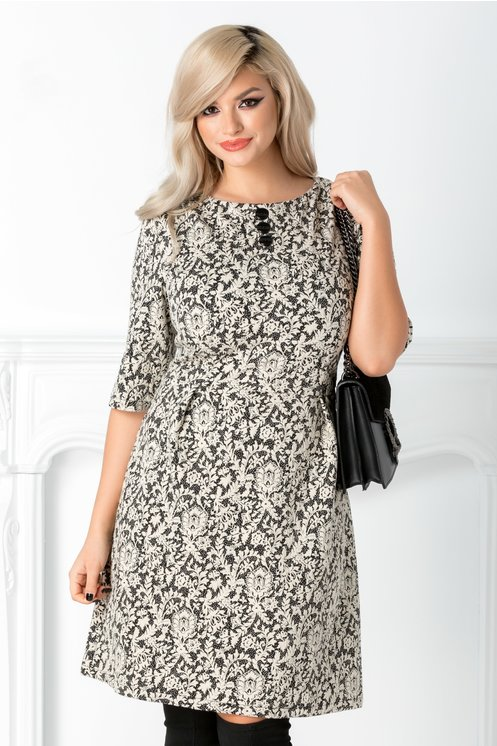 Rochie Risa neagra cu motive florale albe