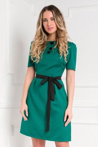 Rochie Risa office verde cu nasturi la bust si cordon in talie