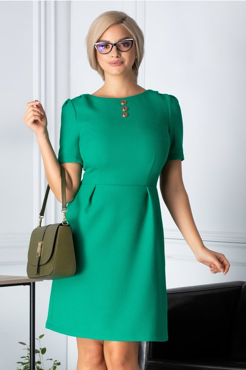 Rochie Risa office verde din bumbac