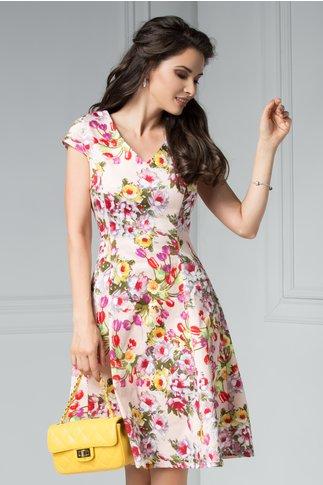 Rochie Rita de vara rose cu imprimeu colorat
