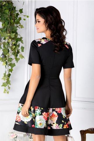 Rochie Riya neagra cu imprimeuri florale
