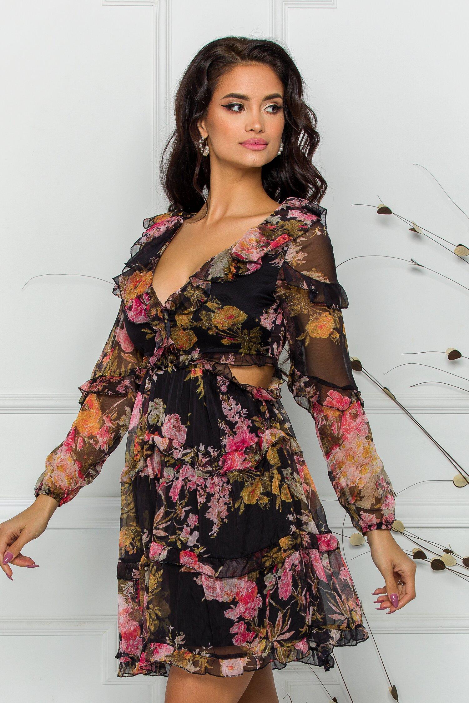 Rochie Rizzie neagra cu imprimeuri florale si decupaje in talie imagine dyfashion.ro 2021