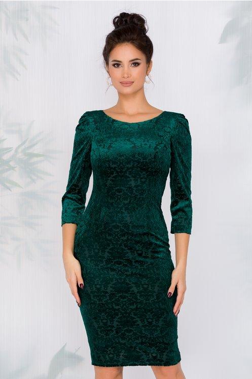 Rochie Romina Verde din catifea