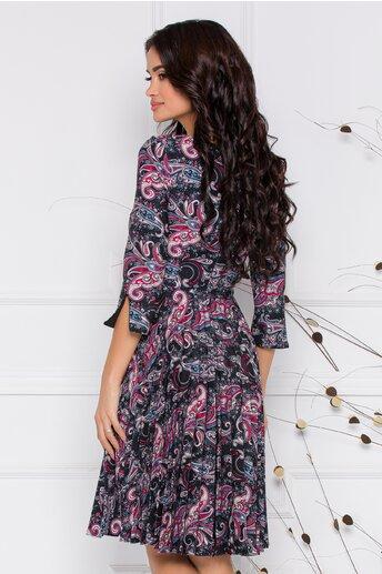 Rochie Rona neagra cu imprimeuri colorate si fusta plisata