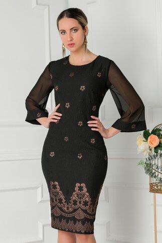Rochie Ronna neagra cu detalii florale vintage