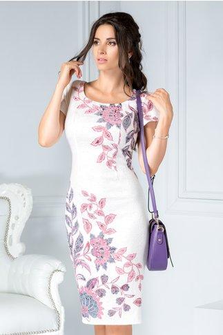 Rochie Ronnie ivoar din jacard cu imprimeu floral roz