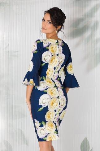 Rochie Rosa bleumarin cu imprimeu floral