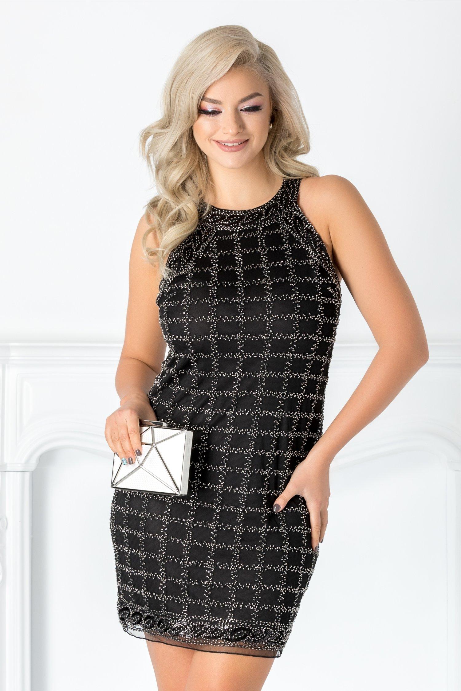 Rochie Rosa neagra cu margelute argintii