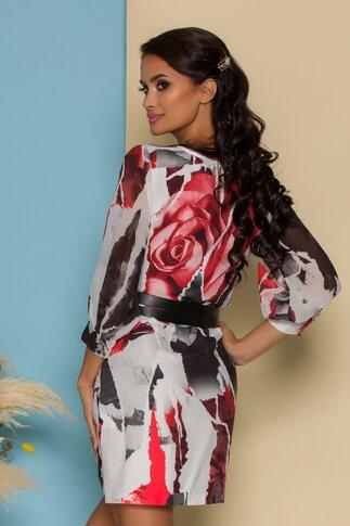 Rochie Rose alba cu imprimeuri rosii