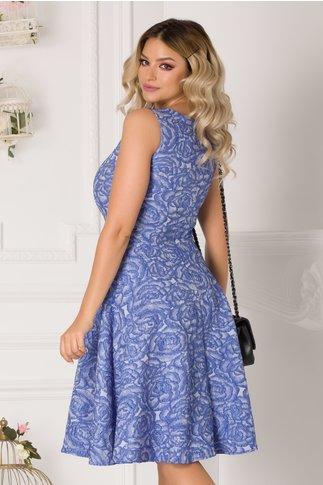 Rochie Rose albastra din brocard cu trandafiri