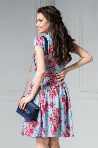 Rochie Rosie bleu cu imprimeu floral roz