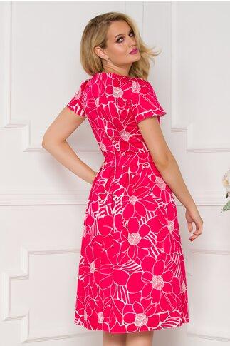 Rochie rosie cu talie marcata si imprimeu floral