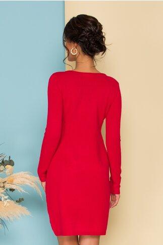 Rochie rosie din tricot cu buzunare functionale