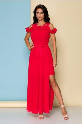 Rochie rosie lunga cu volan la bust si manecute lasate