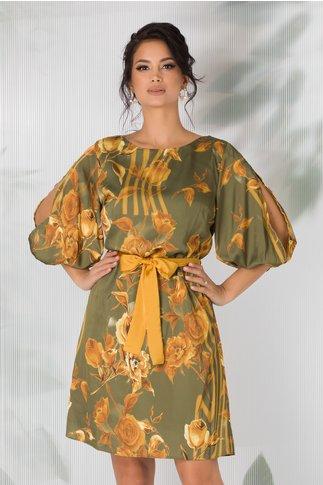 Rochie Rossa kaki cu imprimeu floral galben