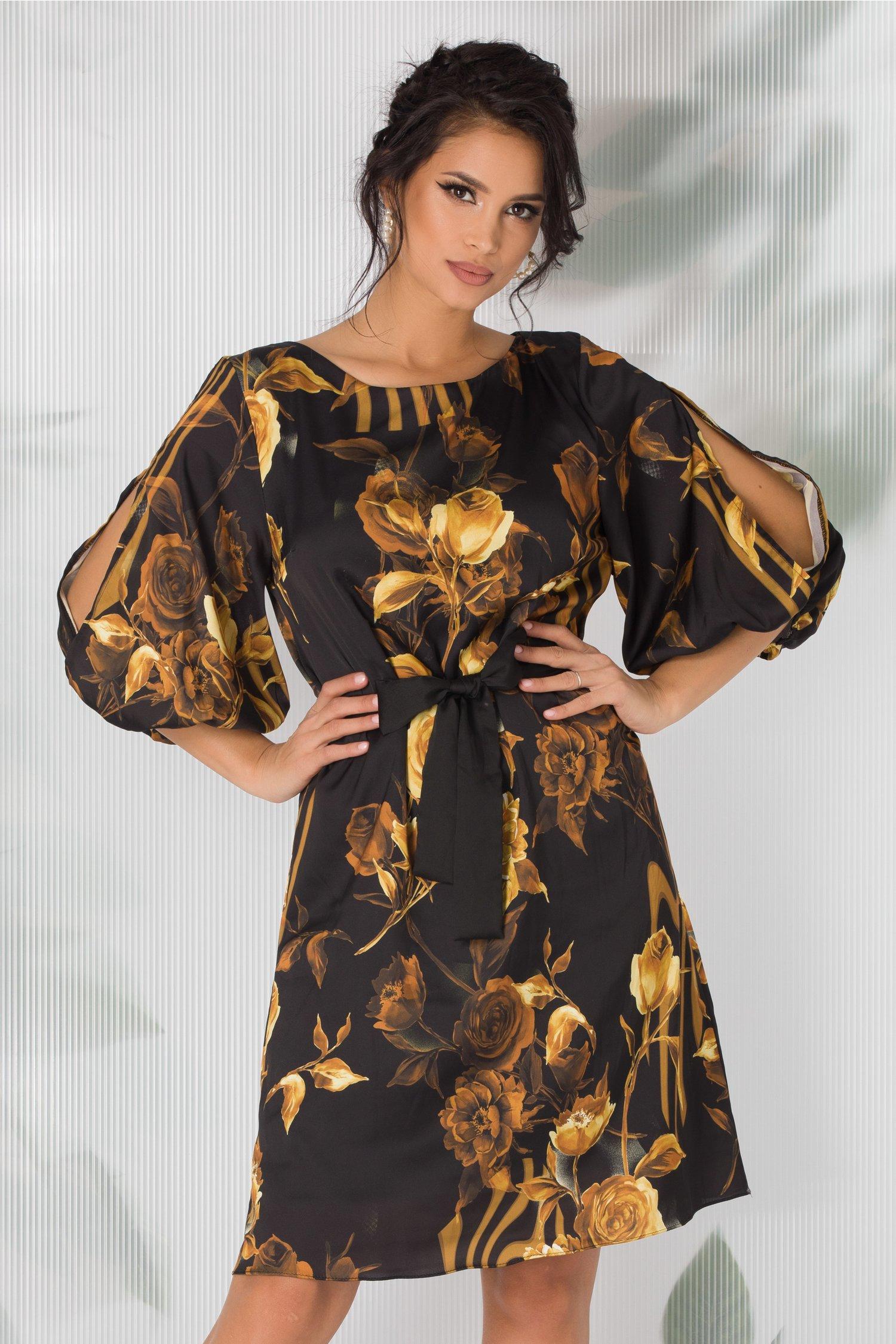 Rochie Rossa neagra cu imprimeu floral galben