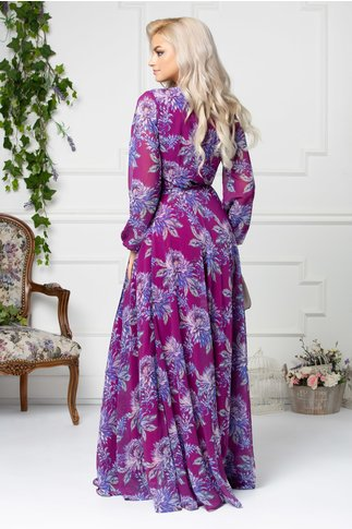 Rochie Rossana mov lunga cu imprimeu floral