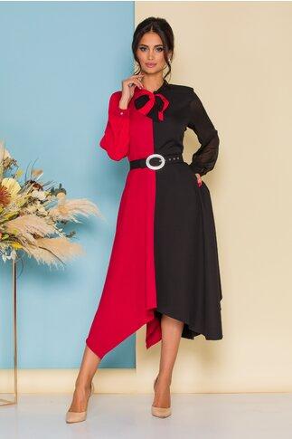 Rochie rosu cu negru si curea in talie