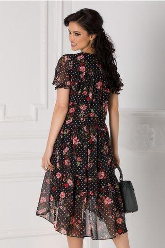 Rochie Rovana neagra cu imprimeu floral si buline