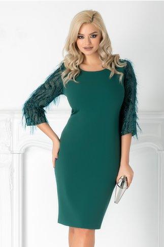 Rochie Rovana verde cu fir stralucitor pe maneca