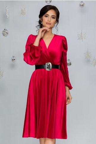 Rochie Roxi din catifea rosie cu decolteul petrecut