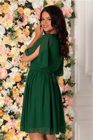 Rochie Roxi din voal verde cu manecile decupate