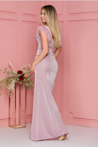 Rochie Roxy lila lunga cu pene si strasuri la umeri
