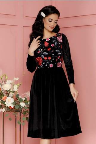 Rochie Roxy neagra din catifea cu broderie florala la bust