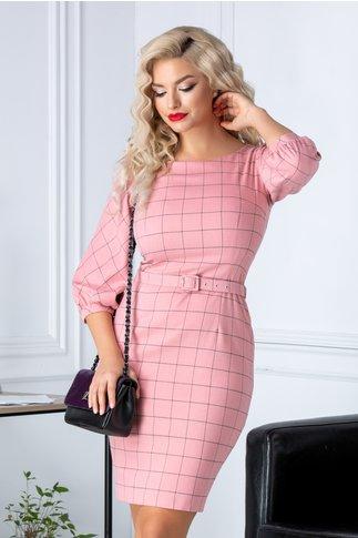Rochie Roxy office roz cu carouri si curea in talie