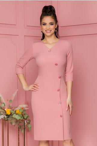 Rochie Roxy roz cu nasturi fantezie